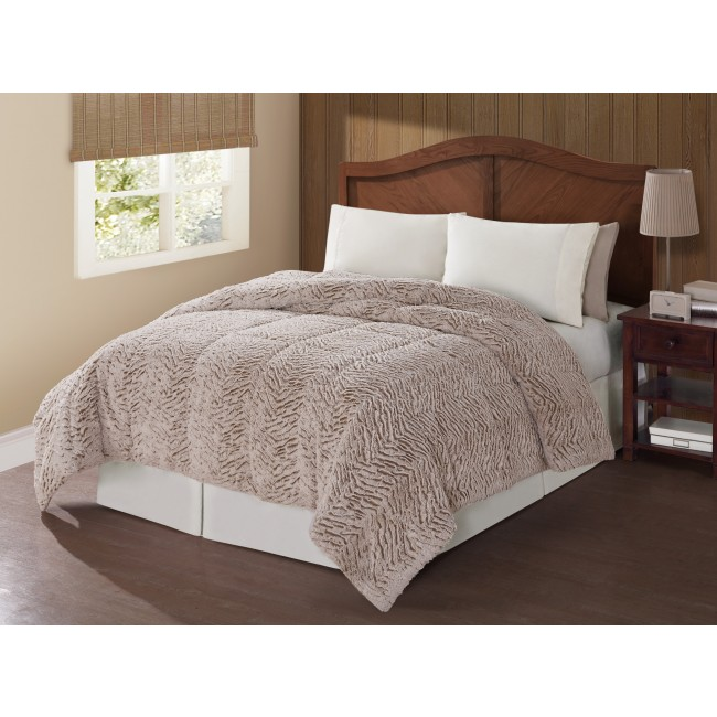 Carved Mink Animal Print Comforter Set-Tan